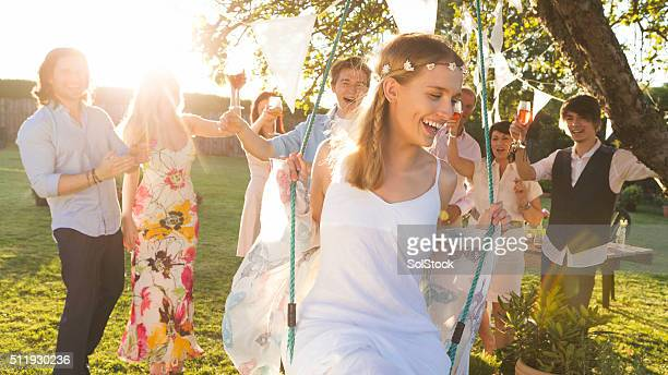 Celebrating at an Outdoor Wedding Reception