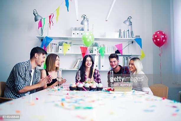 Celebrating birthday in the office