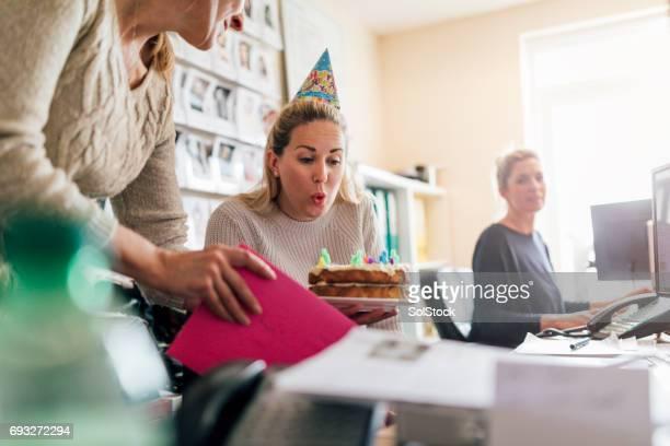 Celebrating Her Birthday at Work
