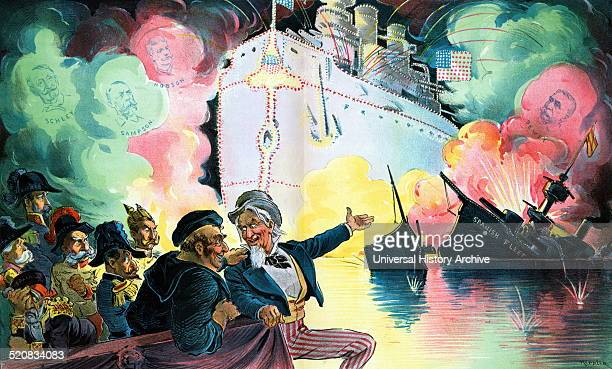 Celebrating July 4th 'the triumph of the American battleship' by Udo Keppler 18721956 artist 1898 Uncle Sam sitting with John Bull who is a sailor...