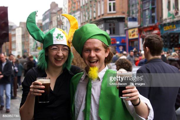 Celebrating St Patrick's Day with pint of the black stuff are Silvia Bellver and Mick McDonnell in Dublin