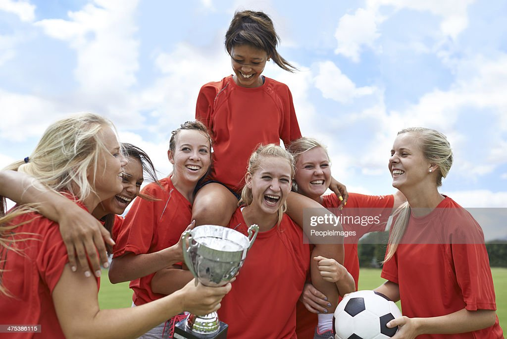 Celebrating their league win! : Stock Photo