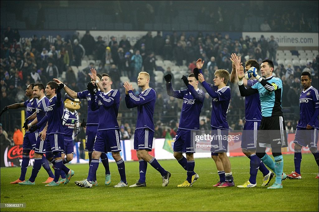 RSC celebrating their victory in action during the Cofidis Cup match between Rsc Anderlecht and Kaa Gent on January 16, 2013 in Anderlecht, Belgium.
