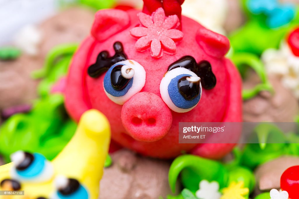 Celebration colorful cake decorated figures of animals : Foto de stock