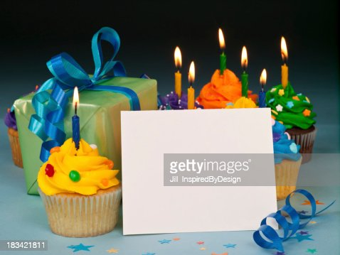 Celebration cupcakes with blank card