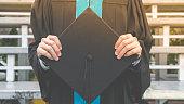 Graduation student commencement university with Asian commencement suit. Celebration education graduation commencement of Asian for background.