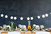 Dinng table decorated for celebration