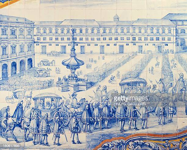 Celebration in Lisbon for the marriage of Catherine of Braganza and Charles II of England April 23 Lisbon Portuguese azulejo preserved at the Italian...