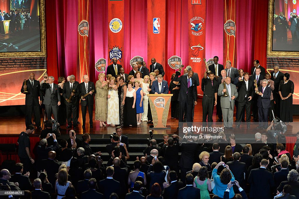 A celebration of all Hall of Famers to end the 2014 Basketball Hall of Fame Enshrinement Ceremony on August 8, 2014 at the Mass Mutual Center in Springfield, Massachusetts.