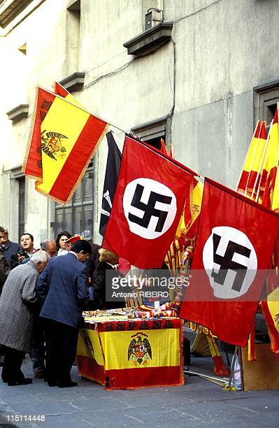 Celebration of anniversary of death of Franco in Madrid Spain on November 17 1991 Plaza de Oriente in Madrid