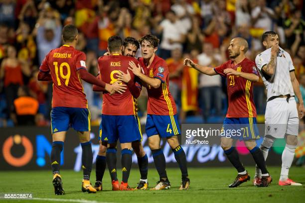 Celebration of the goal of the Spanish team during the qualifying match for the World Cup Russia 2018 between Spain and Albaniaat the Jose Rico Perez...