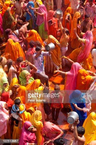Celebration of the Holi Festival, Mathura, India