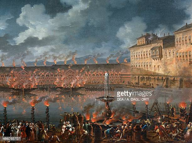 Celebration with fireworks in the harbour of Civitavecchia for the arrival of the Jesuits expelled from Portugal October 24 painting by Charles...