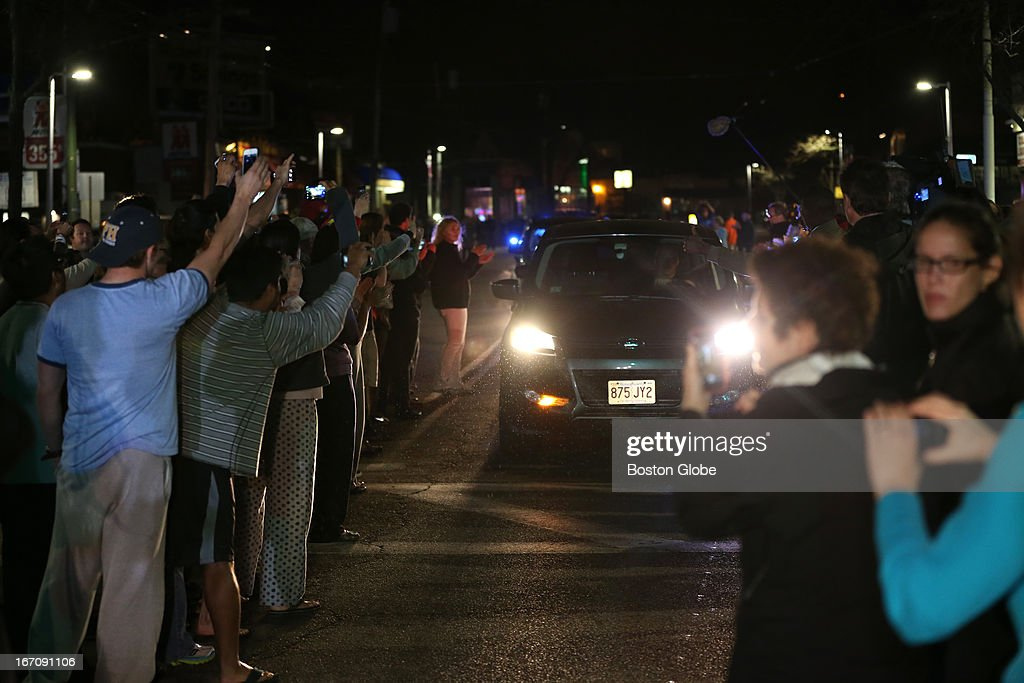 Celebrations after an intense manhunt and two-hour standoff in Watertown, law enforcement took a person into custody believed to be related to the Boston Marathon bombings.