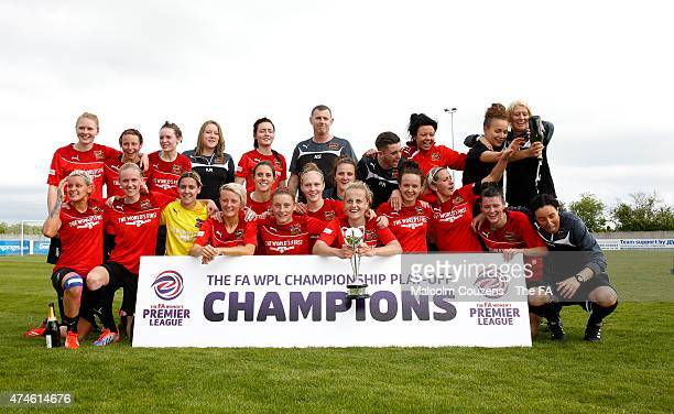 Celebrations for Sheffield FC following The WPL Playoff Final between Portsmouth FC Ladies and Sheffield FC Ladies at Stratford Town FC on May 24...