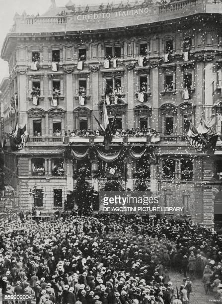 Celebrations for the French National Holiday in front of Credito Italiano Bank head office Milan Italy from l'Illustrazione Italiana Year XLV No 29...