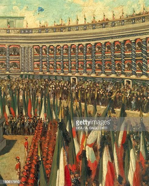 Celebrations in honor of Giuseppe Garibaldi in Sferisterio arena in Macerata Detail Italian Unification Italy 19th century