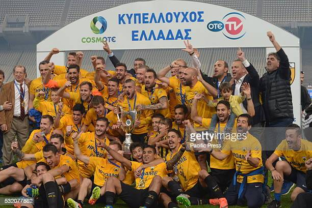 STADIUM ATHENS ATTIKI GREECE Celebrations of players of AEK after winning the Greek Cup Final against Olympiacos during Greek Football Cup Final AEK...