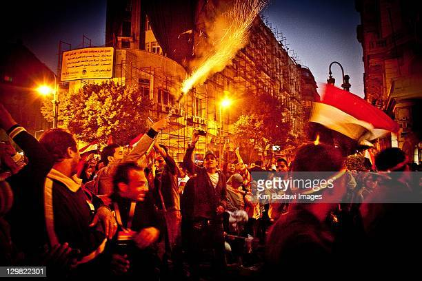 Celebrations downtown on February 11 2011 off Tahrir Square in downtown Cairo Egypt