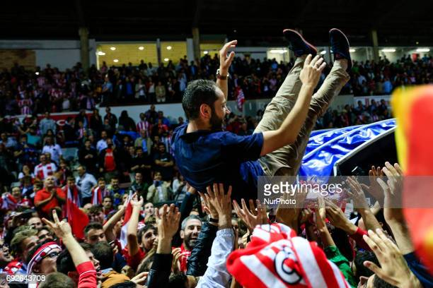 Celebrations of the Girona FC trainer Pablo Machin after certificate his promotion ascent to the La Liga during the Spanish championship La Liga...