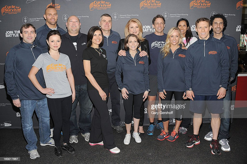 Celebrities and sports figures gather for a picture to support the 2013 Cycle For Survival Benefit at Equinox Rock Center on March 3, 2013 in New York City.