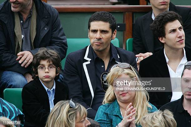 Celebrities at 2008 Roland Garros Tournament In Paris France On June 06 2008Pascal Elbe and his son