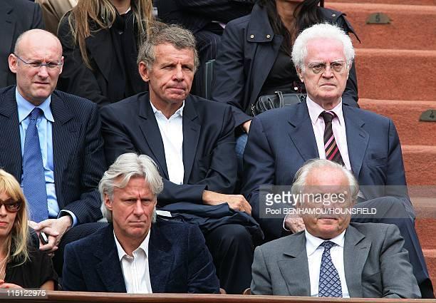 Celebrities at 2008 Roland Garros Tournament in Paris France on June 06 2008 Bernard Laporte Lionel Jospin Bjorn Borg Christian Bimes