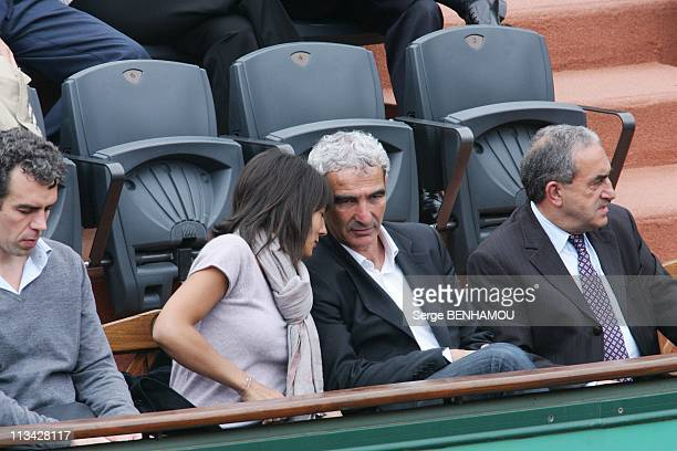 Celebrities At 2009 Roland Garros Tournament In Paris France On May 28 2009 Raymond Domenech and Estelle Denis