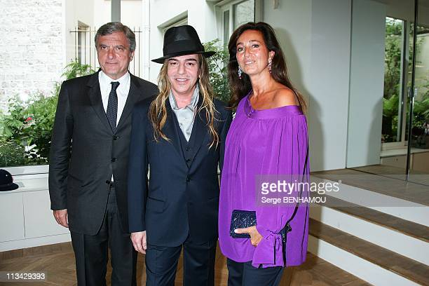 Celebrities At Christian Dior Haute Couture FallWinter 20092010 Fashion Show In Paris France On July 06 2009 John Galliano with Sydney Toledano and...