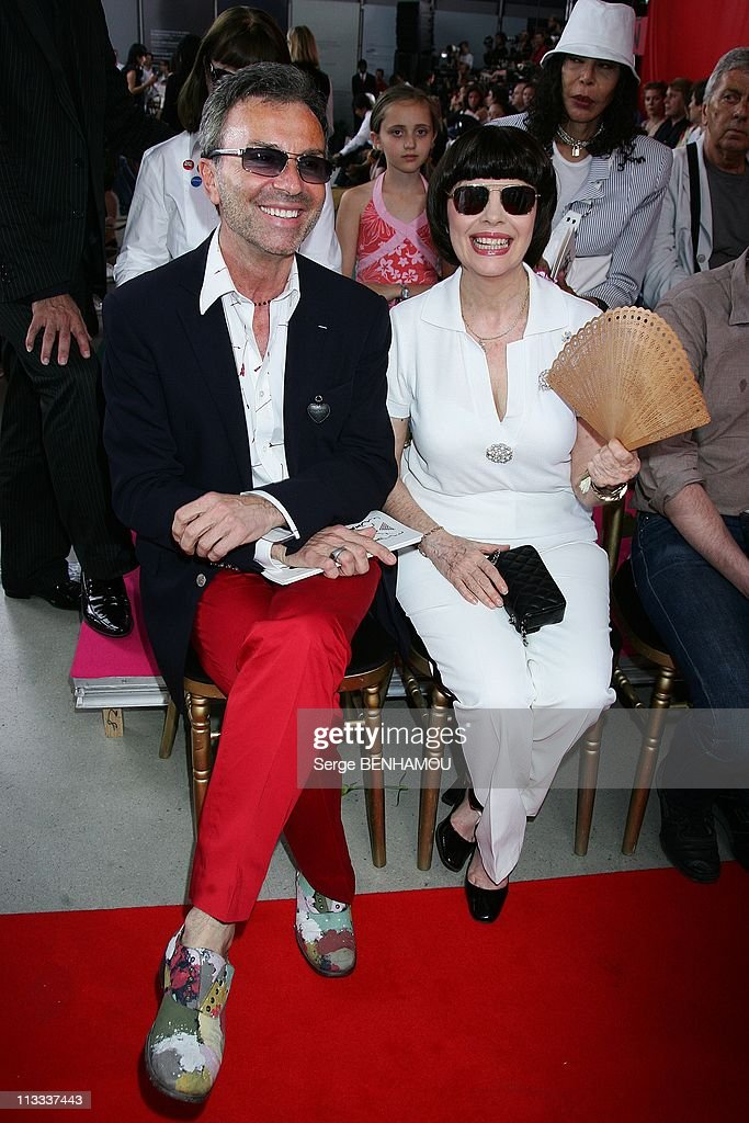 Celebrities At Christian Lacroix Fall-Winter 2008-2009 Haute-Couture Fashion Show In Paris, France On July 01, 2008 - Olivier Echaudemaison and <a gi-track='captionPersonalityLinkClicked' href=/galleries/search?phrase=Mireille+Mathieu&family=editorial&specificpeople=738659 ng-click='$event.stopPropagation()'>Mireille Mathieu</a>.
