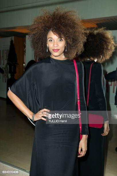 celebrities at the Sidaction 2017 15th edition of the fashion dinner at the Grand Palais in Paris on January 26 2017 the actress Stefi Celma