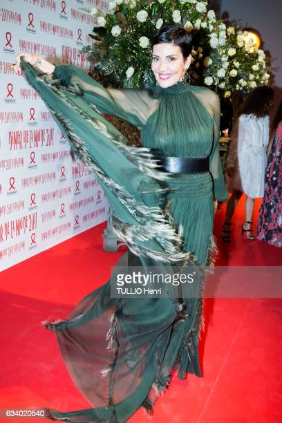 celebrities at the Sidaction 2017 15th edition of the fashion dinner at the Grand Palais in Paris on January 26 2017 Cristina Cordula