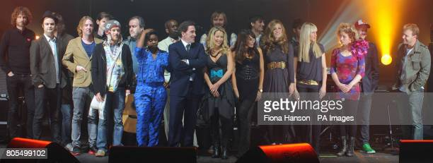 Celebrities gather on stage at the O2 Brixton Academy before taking part in a charity concert in aid of CARE this evening The participants include...