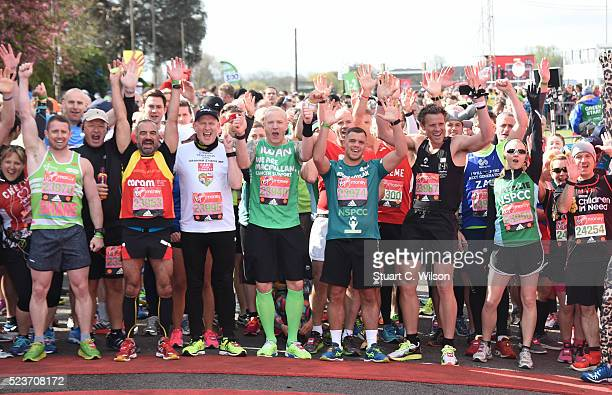 Celebrities including James Cracknell Kelly Holmes Iwan Thomas and Natalie Dormer on the start line at the Virgin London Marathon 2016 on April 24...