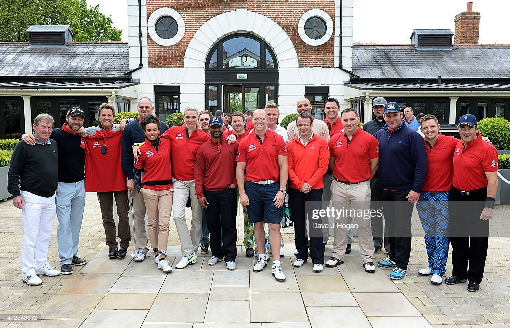 Celebrities, including Kenny Dalgleish (L), Sir <a gi-track='captionPersonalityLinkClicked' href=/galleries/search?phrase=Steve+Redgrave&family=editorial&specificpeople=171908 ng-click='$event.stopPropagation()'>Steve Redgrave</a>, <a gi-track='captionPersonalityLinkClicked' href=/galleries/search?phrase=Iain+Balshaw&family=editorial&specificpeople=217240 ng-click='$event.stopPropagation()'>Iain Balshaw</a>, <a gi-track='captionPersonalityLinkClicked' href=/galleries/search?phrase=Brian+McFadden+-+Singer&family=editorial&specificpeople=14999715 ng-click='$event.stopPropagation()'>Brian McFadden</a>, <a gi-track='captionPersonalityLinkClicked' href=/galleries/search?phrase=Louise+Hazel&family=editorial&specificpeople=1424099 ng-click='$event.stopPropagation()'>Louise Hazel</a>, <a gi-track='captionPersonalityLinkClicked' href=/galleries/search?phrase=Jodie+Kidd&family=editorial&specificpeople=178960 ng-click='$event.stopPropagation()'>Jodie Kidd</a>, JB Gill, <a gi-track='captionPersonalityLinkClicked' href=/galleries/search?phrase=Mike+Tindall&family=editorial&specificpeople=204210 ng-click='$event.stopPropagation()'>Mike Tindall</a> (C), <a gi-track='captionPersonalityLinkClicked' href=/galleries/search?phrase=Austin+Healey&family=editorial&specificpeople=211535 ng-click='$event.stopPropagation()'>Austin Healey</a>, <a gi-track='captionPersonalityLinkClicked' href=/galleries/search?phrase=Phil+Vickery&family=editorial&specificpeople=217964 ng-click='$event.stopPropagation()'>Phil Vickery</a> and <a gi-track='captionPersonalityLinkClicked' href=/galleries/search?phrase=Nigel+Mansell&family=editorial&specificpeople=220535 ng-click='$event.stopPropagation()'>Nigel Mansell</a> (R) attend the ISPS Handa <a gi-track='captionPersonalityLinkClicked' href=/galleries/search?phrase=Mike+Tindall&family=editorial&specificpeople=204210 ng-click='$event.stopPropagation()'>Mike Tindall</a> 3rd Annual Celebrity Golf Classic at The Grove Hotel on May 8, 2015 in Hertford, England.