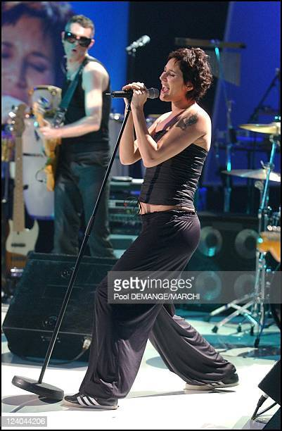 Celebrities participate in recording of ELA TV show to be aired in May three weeks before the 2002 Soccer World Cup in France on March 13 2002 Zazie