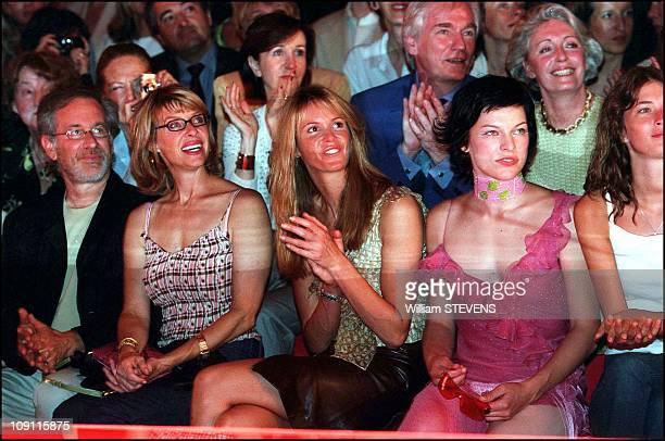 Celebrities Watching The Autumn Winter 2000 2001 Christian Dior Fashion Show On August 7Th 2000 In Paris France Steven Spielberg And His Wife Elle...