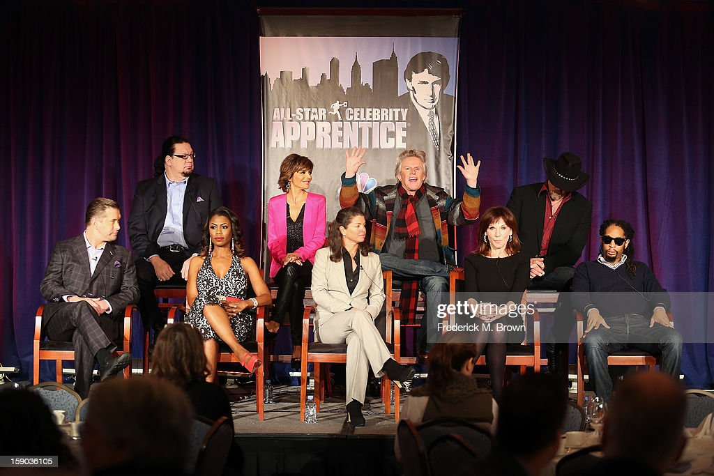 Celebrity Apprentice stars Penn Jillette, Lisa Rinna, Gary Busey, Trace Adkins, (Bottom L-R) Stephen Baldwin, Omarosa Manigault, Executive Producer Page Feldman, Celebrity Apprentice stars Marilu Henner, and Lil Jon speak onstage at the 'All Star Celebrity Apprentice' breakfast session during the NBCUniversal portion of the 2013 Winter TCA Tour- Day 3 at the Langham Hotel on January 6, 2013 in Pasadena, California.