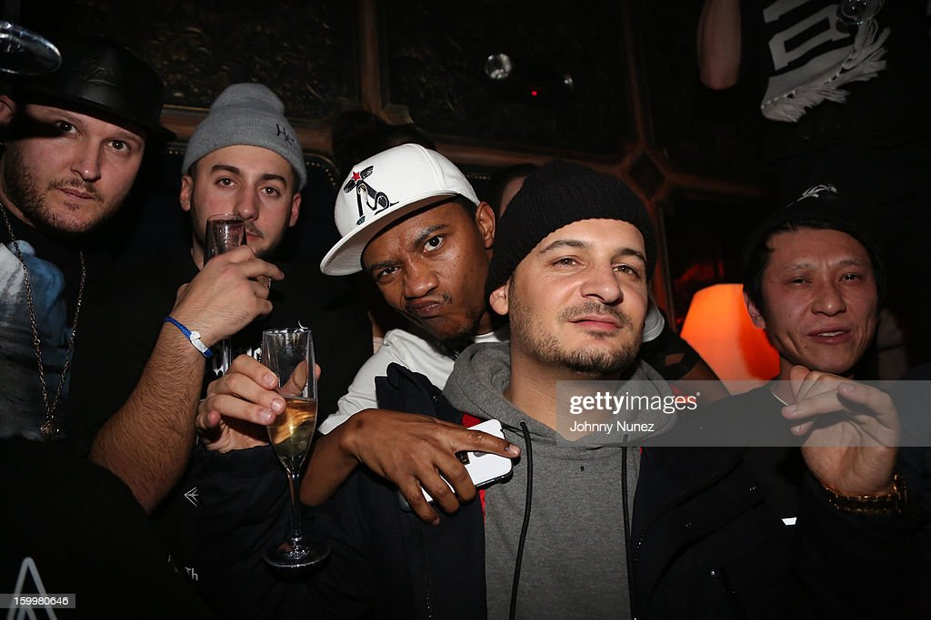 Celebrity barber Ibn Jasper (center-l) and fashin designer Nicky Diamond (center-R) attend Nicky Diamond Birthday Celebration at The Griffin on January 23, 2013 in New York City.