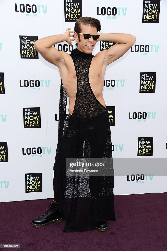 Celebrity blogger <a gi-track='captionPersonalityLinkClicked' href=/galleries/search?phrase=Perez+Hilton&family=editorial&specificpeople=598309 ng-click='$event.stopPropagation()'>Perez Hilton</a> arrives at the Logo NewNowNext Awards 2013 at The Fonda Theatre on April 13, 2013 in Los Angeles, California.