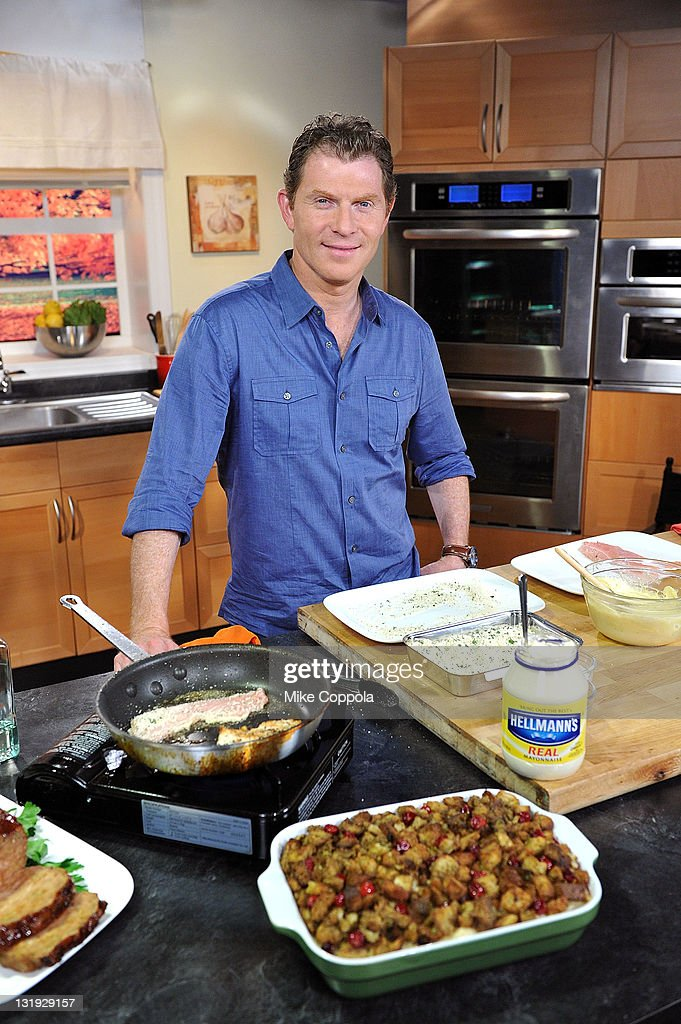 Celebrity Chef Bobby Flay poses during Hellmann's NYC Turkey Challenge launch with celebrity chef Bobby Flay at C & C Studios on November 8, 2011 in New York, United States.