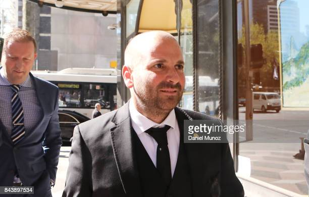 Celebrity chef George Calombaris arrives to Downing Centre Local Court on September 8 2017 in Sydney Australia The celebrity chef was charged with...