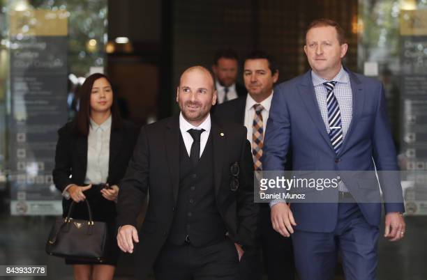 Celebrity chef George Calombaris leaves Downing Centre Local Court on September 8 2017 in Sydney Australia The celebrity chef was charged with...