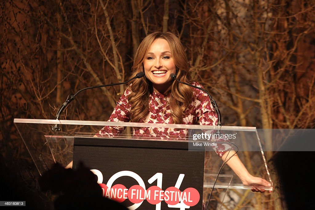 Celebrity chef <a gi-track='captionPersonalityLinkClicked' href=/galleries/search?phrase=Giada+De+Laurentiis&family=editorial&specificpeople=601210 ng-click='$event.stopPropagation()'>Giada De Laurentiis</a> speaks onstage at An Artist at the Table: Dinner Program during the 2014 Sundance Film Festival at Stein Eriksen Lodge on January 16, 2014 in Park City, Utah.