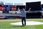 Celebrity chef Jamie Oliver poses on the field prior to attending the New York Yankees 'Healthy Home Plate' Breakfast at Yankee Stadium on May 18...