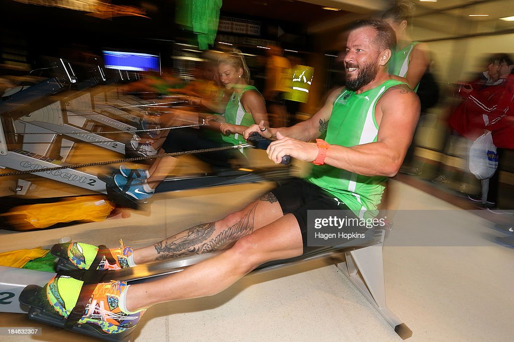 Celebrity chef Jason Roberts competes in the rowing leg of the ANZA Challenge on October 15, 2013 in Wellington, New Zealand.