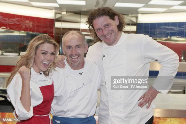 Celebrity chef Marco PierreWhite celebrates with Hell's Kitchen 2007 winner Barry McGuigan and runner up Adele Silva seconds after McGuigan was...