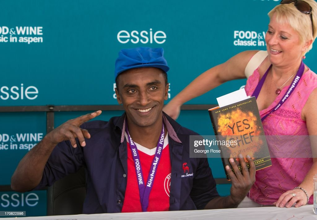 Celebrity chef Marcus Samuelsson signs copies of his book 'Yes Chef' on June 14 in Aspen Colorado The 31st Annual Food Wine Classic brings together...