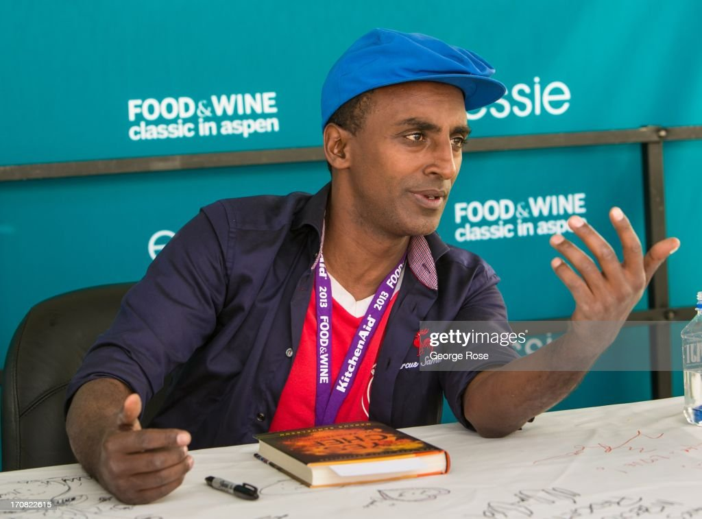 Celebrity chef Marcus Samuelsson signs copies of his book 'Yes, Chef' on June 14, 2013, in Aspen, Colorado. The 31st Annual Food & Wine Classic brings together the world's top chefs and vintners in a culinary and beverage celebration.