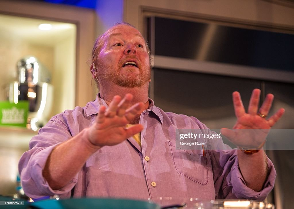 Celebrity chef Mario Batali conducts a lively cooking demonstration on June 14 in Aspen Colorado The 31st Annual Food Wine Classic brings together...